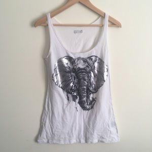 Lauren Moshi | White Silver Elephant Graphic Tank